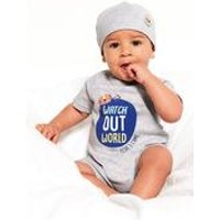 Baby Boys Two Piece Watch Out World Romper with Hat
