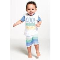 Baby Boys Two Piece Cool Like Mama T-Shirt and Stripe Shorts Set