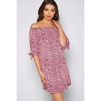 Bardot Printed Animal Print Tie Sleeve Tunic