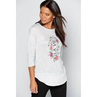 2-in-1 Graphic Long Sleeve Grey T-shirt