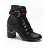Stripe Block Heel Ankle Boots