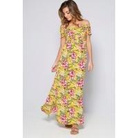 Bardot Yellow Floral Shirred Detail Maxi Dress