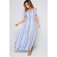 Bardot Linear Blue Shirred Detail Maxi Dress