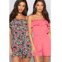 Pack of 2 Pink + Palm Print Bardot Frill Playsuits