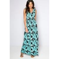 Slinky Shirred Waist Palm Print Maxi Dress