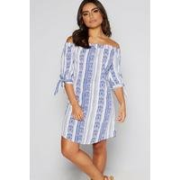 Bardot Tie Sleeve Linear Blue Printed Tunic
