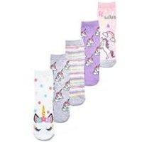 Girls Pack of 5 Unicorn Socks