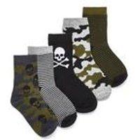 Boys Pack of 5 Skull Socks