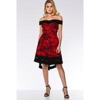 Quiz Red and Black Marcella Velvet Bardot Dip Hem Dress