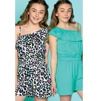 Older Girls Pack of 2 Leopard Playsuits