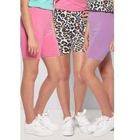 Older Girls Pack of 3 Leopard Cycling Shorts