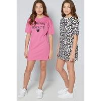 Older Girls Pack of 2 Leopard Dresses