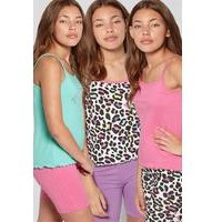 Older Girls Pack of 3 Leopard Cami Vests