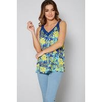 Blue Floral Layered Cami Top