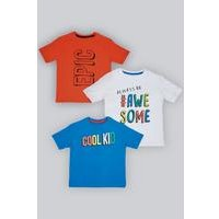 Younger Boys Pack of 3 Cool Kid Slogan T-Shirts