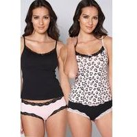 Pack of 2 Leopard Print Cami Vests and Knickers