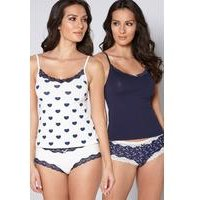 Pack of 2 Navy Heart Print Cami Vests and Knickers