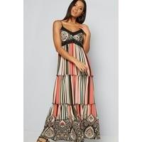 Apricot Tiered Stripe Paisley Maxi Dress