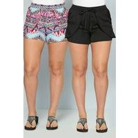 Pack of 2 Aztec and Black Beach Shorts