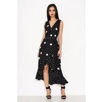 Ax Paris Polka Dot Dip Hem Maxi Dress