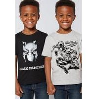 Boys Black Panther Pack of 2 T-Shirts