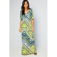 Batwing Patch Scarf Chartreuse Maxi Dress