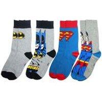 Men's Batman & Superman 4 Pack Sock Set - Grey/Blue