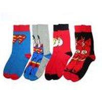 Men's Superman & The Flash 4 Pack Sock Set - Blue/Red