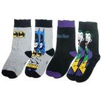 Mens Batman and The Joker 4 Pack Sock Set - Grey/Black