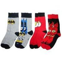 Men's Batman & The Flash 4 Pack Sock Set - Grey/Red