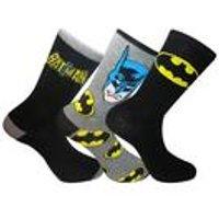 Men's Batman 3 Pack Socks In A Gift Tin - Black/Yellow
