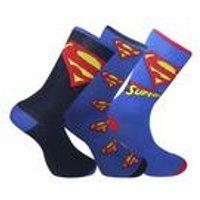 Men's Superman 3 Pack Socks In A Gift Tin - Blue/Red