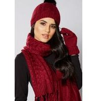 3-Piece Luxury Scarf, Beanie and Gloves Set - Wine