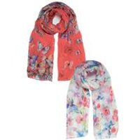 Pack of 2 Floral Woven Scarves