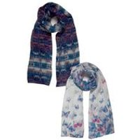 Pack of 2 Butterfly Woven Scarves