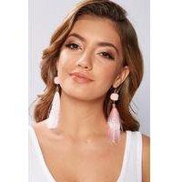 Pink Tassel Earrings with Pom