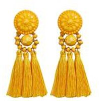 Yellow Tassel Bead Earrings