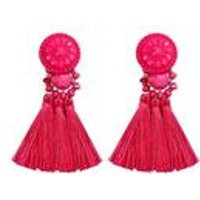 Pink Tassel Bead Earrings