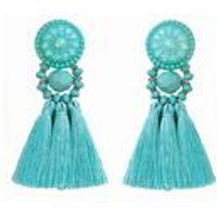 Mint Tassel Bead Earrings