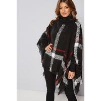 Oversized Check Black Poncho