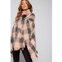 Oversized Pink Check Poncho