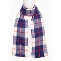 Navy Check Blanket Scarf