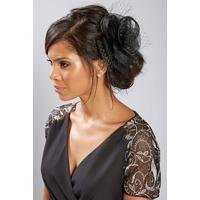 Black Mesh Flower Fascinator