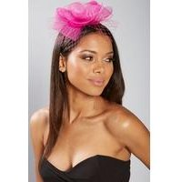 Fuschia Pink Mesh Flower Fascinator