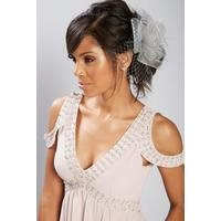 Grey Mesh Flower Fascinator