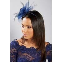 Navy Mesh Flower Fascinator
