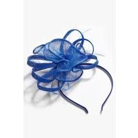 Blue Mesh and Feather Fascinator