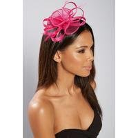 Fuchsia Mesh and Feather Fascinator