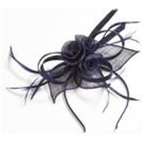 Navy Lace And Feather Fascinator