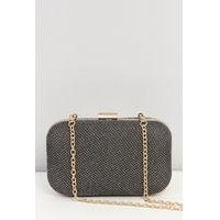 Black With Gold Sparkle Hard Clip Clutch